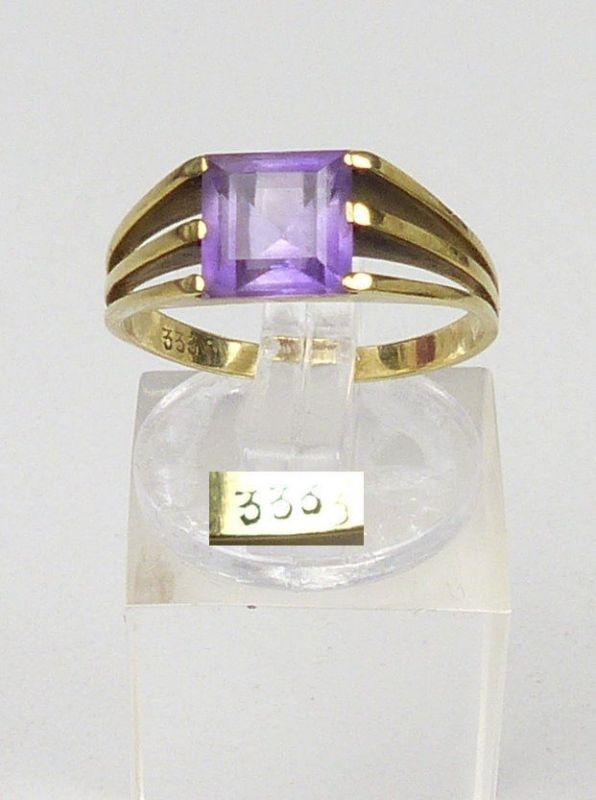 Ring aus 333er Gold mit Amethyst, Gr. 55/Ø 17,5 mm  (da5051)