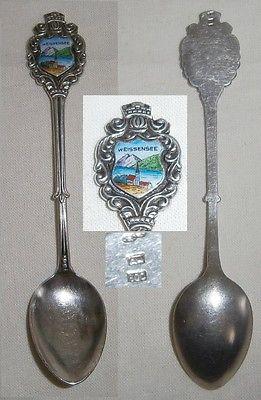 alter Sammler-Andenken-Löffel, Weissensee 800 Silber m. Wappen aus Emaille