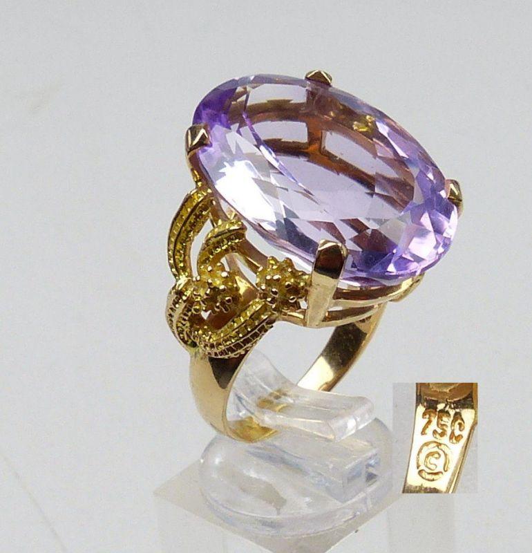 Designer-Ring aus 750 Gold mit großem Amethyst, Gr. 56/Ø 17,8 mm  (da5035)