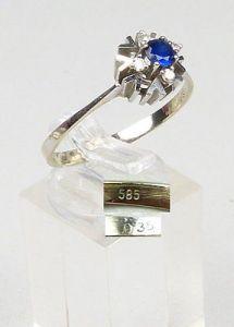 Ring 585 Weißgold m.Saphir u. 4 Brillanten 0,35 ct., Gr. 67, Ø 21,3 mm  (da5016)