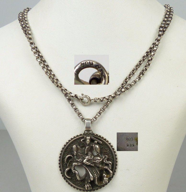Kette und Anhänger Drachentöter aus 800er Silber   (da5013)