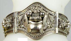 Biedermeier Armreif aus Silber  mit Sicherheitskette         (da5010)