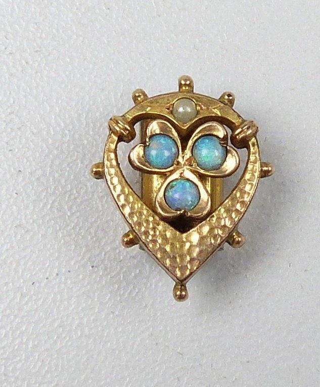 Schieber für Uhrenkette mit 3 Opalen aus Doublé  (da4993)