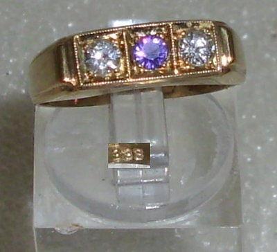 Ring aus 333er Gold mit Amethyst und Zirkonia, Gr. 57, Ø 18,1 mm (da3531)