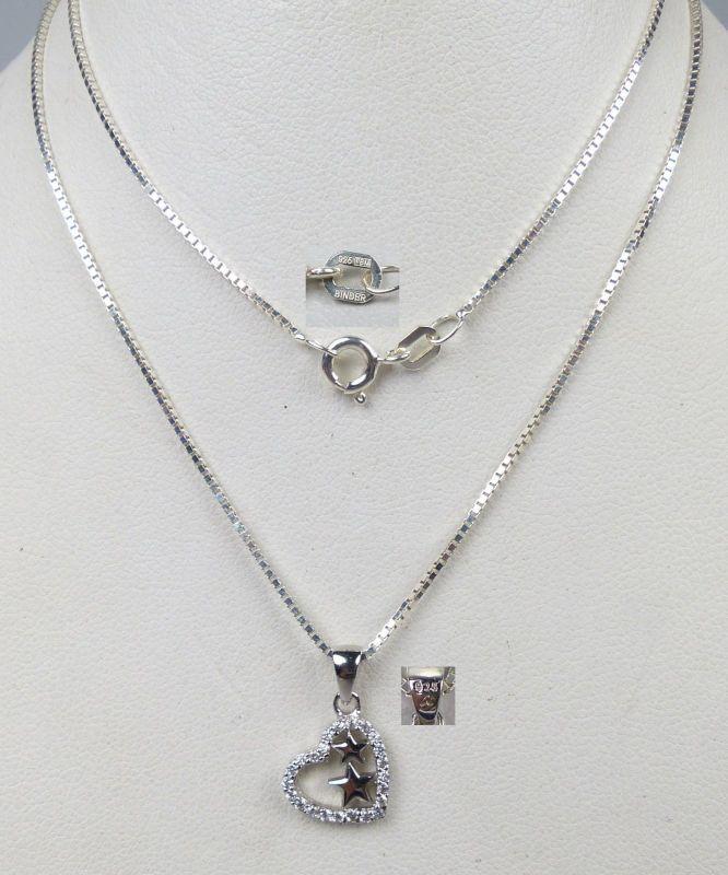 Herz-Anhänger aus 925er Silber mit Kette aus 925er Silber  44 cm  (da5143)