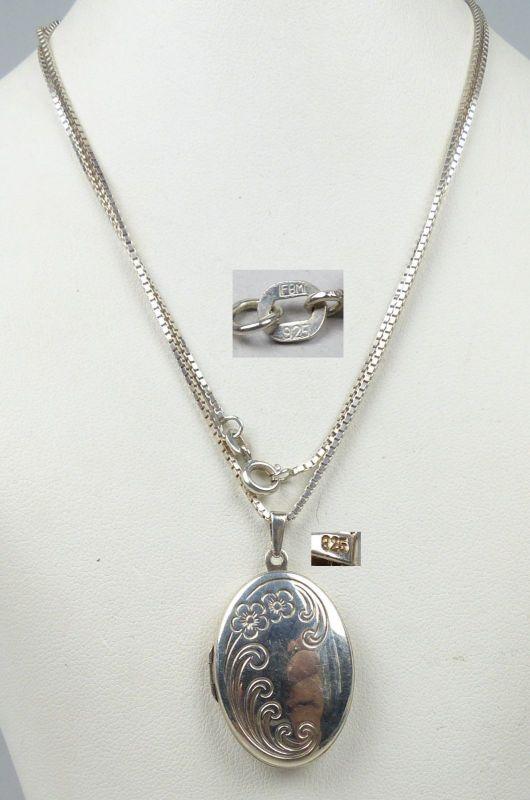 Kette mit Anhänger/Medaillon zum Aufklappen aus 925er Silber   (da4753)