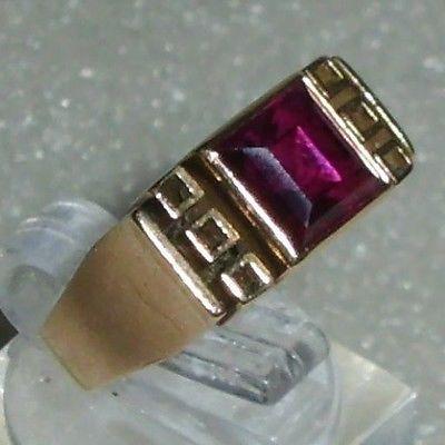 Art Déco-Ring aus 585 Gold mit Rubin, Gr. 49, signiert