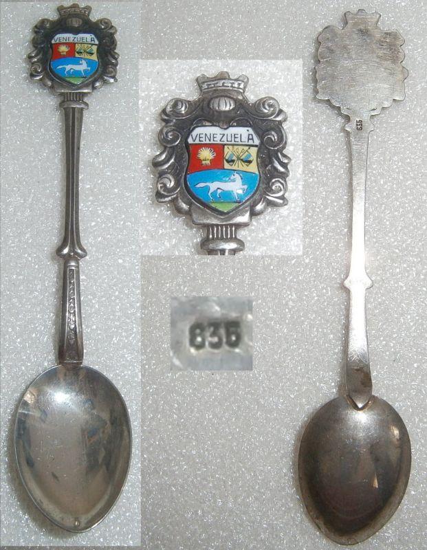 Sammler-Löffel VENEZUELA aus 835 Silbermit Wappenund aus Emaille