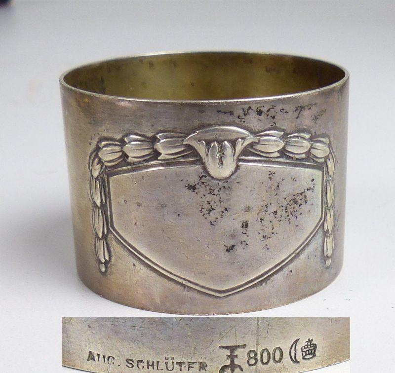 Gründerzeit-Serviettenring aus 800er Silber ohne Monogramm (da5167)