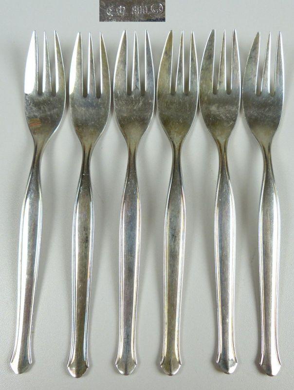 6 sehr feine dekorative Kuchengabeln aus 800er Silber   (da5138)