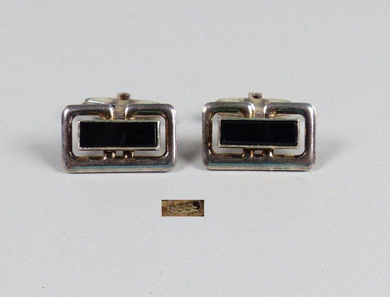 Manschettenknöpfe aus 835er Silber mit Onyx   (da5174)