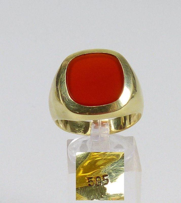 Herren-Ring aus 585er Gold mit Achat, Gr. 69/Ø 21,9 mm  (da5008)