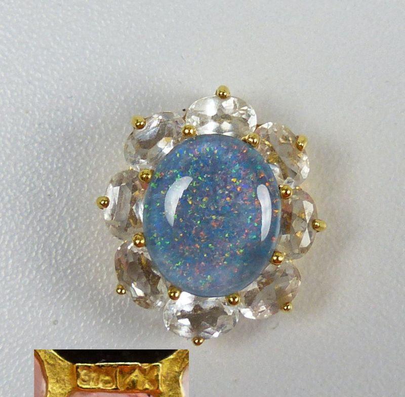 Wunderschöner Anhänger aus 375er Gold Opal und Bergkristallen   (da5193)