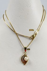 Kette aus 585er Gold mit Anhänger aus 333er Gold mit Perle u. Zirkonia  (da5191)