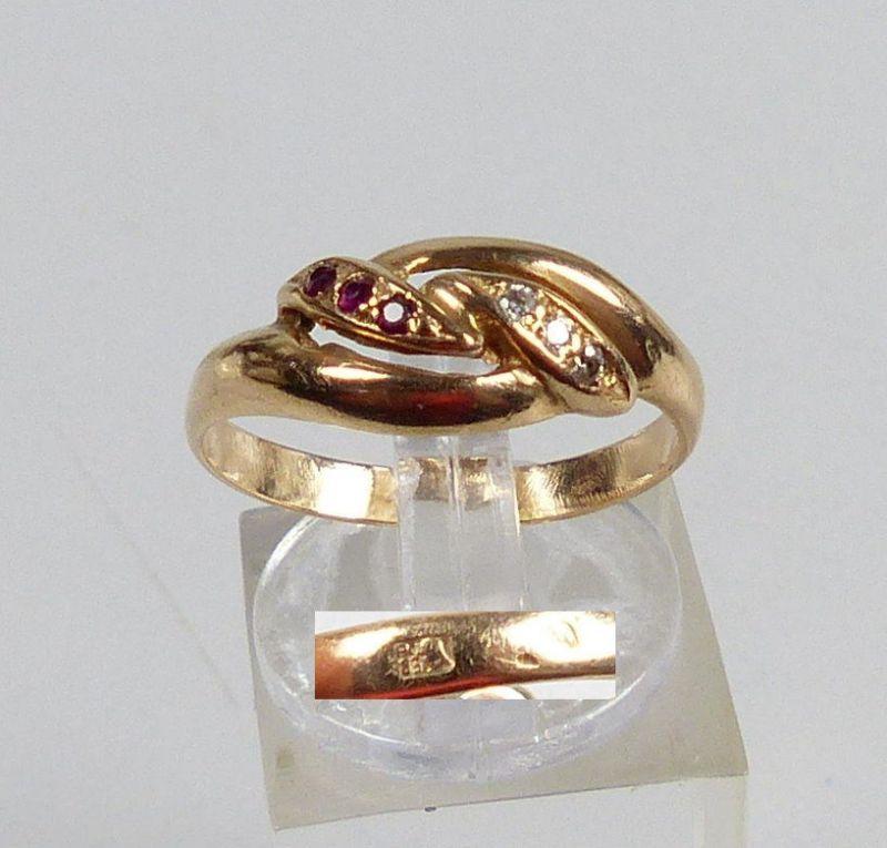 Russischer Ring aus 583er Gold m. Rubine u. Zirkonia, Gr. 58/Ø 18,4 mm  (da5189)