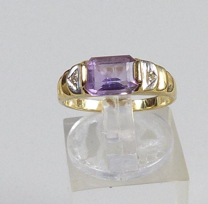 Ring aus 585er Gold mit Amethyst, Gr. 52/Ø 16,5 mm  (da5188)