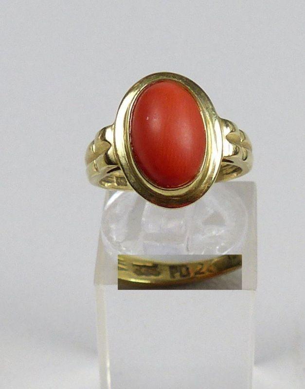 Ring aus 333er Gold mit Koralle, Gr. 51/Ø 16,2 mm  (da5186)