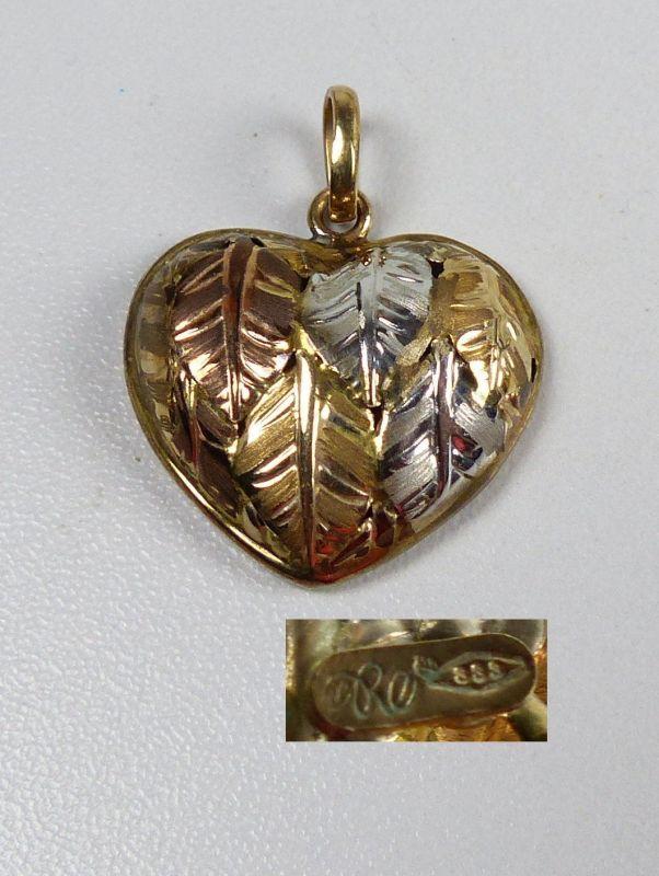 Herz-Anhänger aus 333er Gelbgold und Weißgold  (da5198)