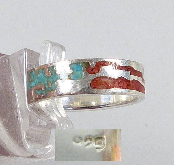 Ring aus 925er Silber Türkis und Achat, Gr. 53/Ø 16,8 mm  (da5213)