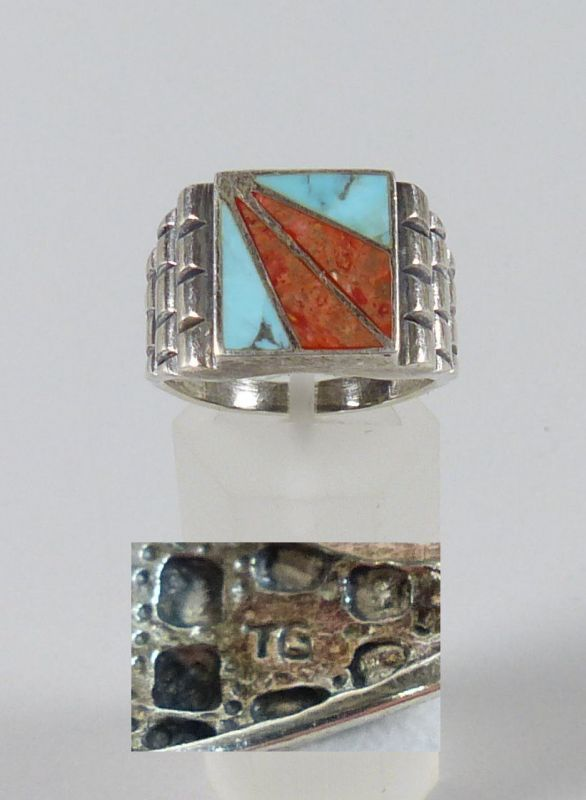 Ring aus 925er Silber signiert TG mit Türkis und Achat, Gr. 66/Ø 21 mm  (da5204)