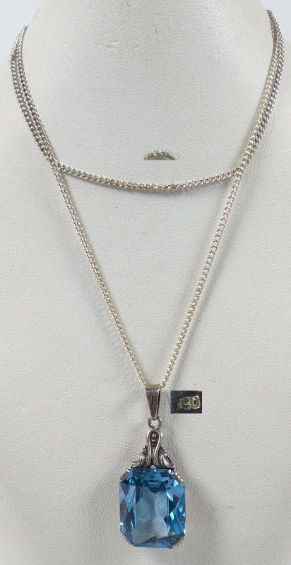 Alter Anhänger aus 830er Silber mit Aquamarin und Silberkette   (da5233)