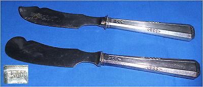 2 antike Vorleger mit Griffen aus 800er Silber Art Déco (da3431)