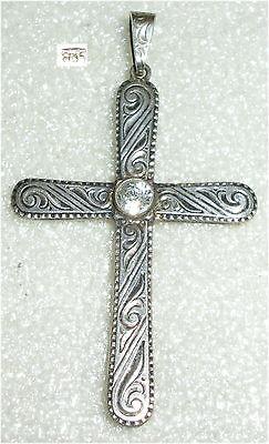 Anhänger Kreuz aus 835er Silber mit weißem Stein  (da3364)