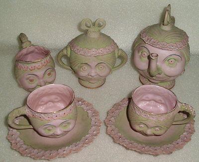 Gründerzeit Kaffee-Service mit Gesichtern