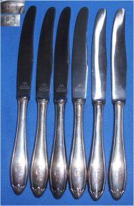 6 antike Obstmesser mit Griffen aus 800er Silber mit Monogramm GZ  (da3468)