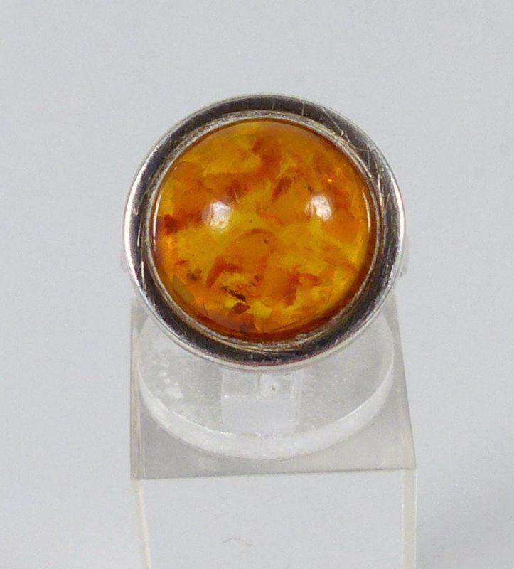 Ring aus 835er Silber Fischland mit Bernstein/Amber, Gr. 52/Ø 16,5 mm  (da5254)