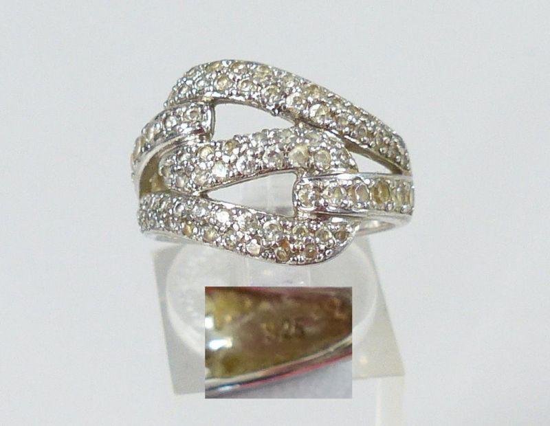 Ring aus 925er Silber mit weißen Edelsteinen, Gr. 57/Ø 18 mm  (da5047)