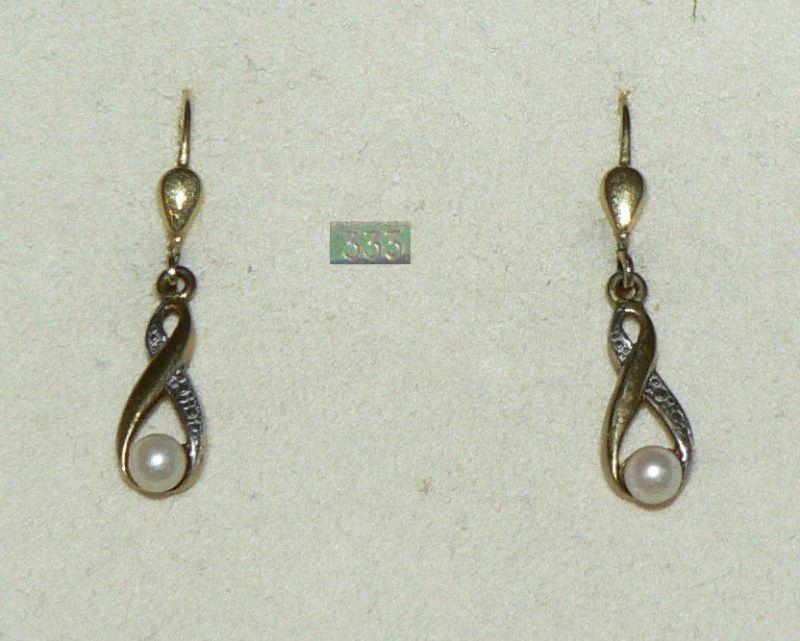 Ohrringe/Hänger aus 333er Gold mit Perle   (da4408)