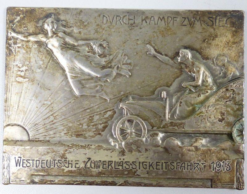 Autoplakette, versilbert,  Westdeutsche Zuverlässigkeitsfahrt 1913 (da5267)
