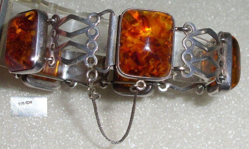 Tolles Armband aus 835er Silber Fischland Bernstein/Amber (da2901) 0
