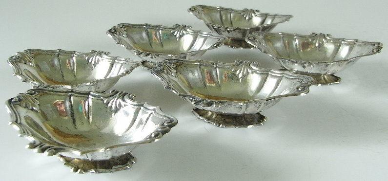 6 dekorative Gründerzeit Salzieren in 800er Silber  (ja081) 1