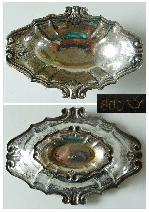 6 dekorative Gründerzeit Salzieren in 800er Silber  (ja081) 3