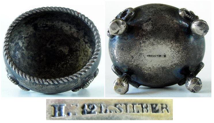 Alte Biedermeier Salziere in 750er Silber, 12 Loth 2