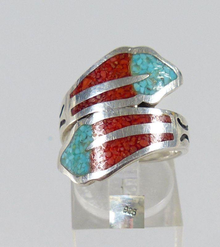 Ring aus 925er Silber mit Achat und Türkis, Gr. 57/Ø 18 mm  (da5209) 0