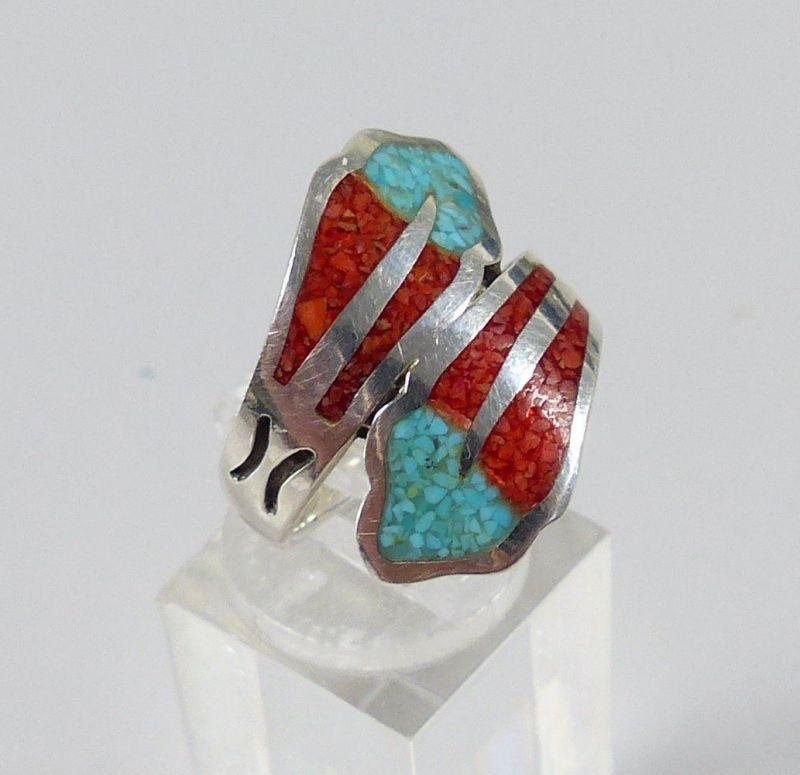 Ring aus 925er Silber mit Achat und Türkis, Gr. 57/Ø 18 mm  (da5209) 1