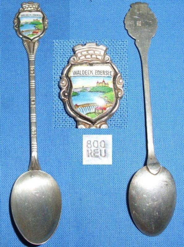 Alter Sammler/Andenken-Löffel 800 Silber Waldeck Edersee  (c6636) 0