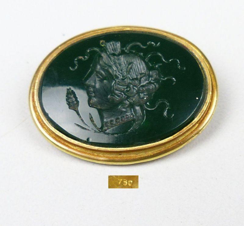 Brosche aus 750er Gold in Malachit geschliffenem Gesicht u. signiert (da5026)
