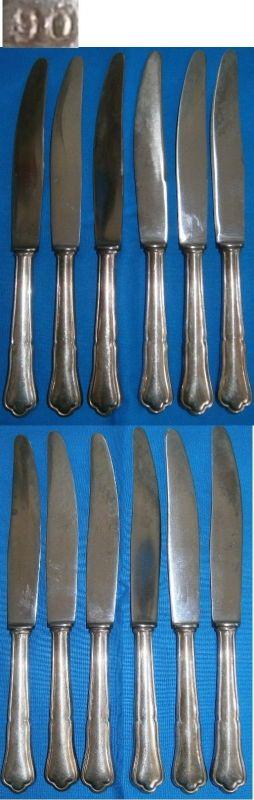 6 sehr schöne Messer Chippendale-Muster 90 Silberauflage