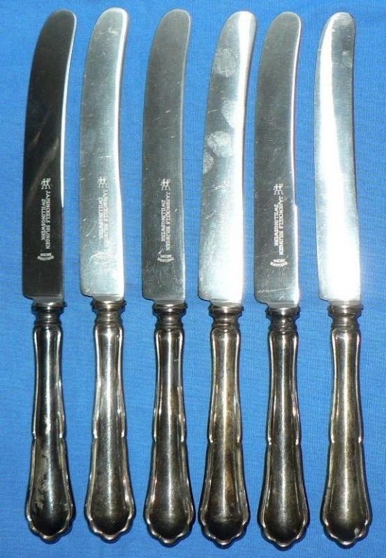6 alte Messer 800 Silber Bremer Silberwarenfabrik