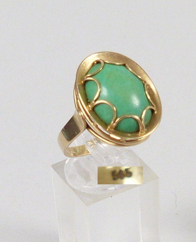 Ring aus 585er Gold mit Türkis, Gr. 63/Ø 20 mm  (da5320)