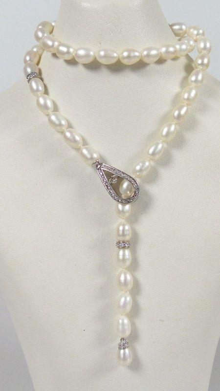 Perlen-Kette mit Zierverschluß aus 925er Silber   (da5308)