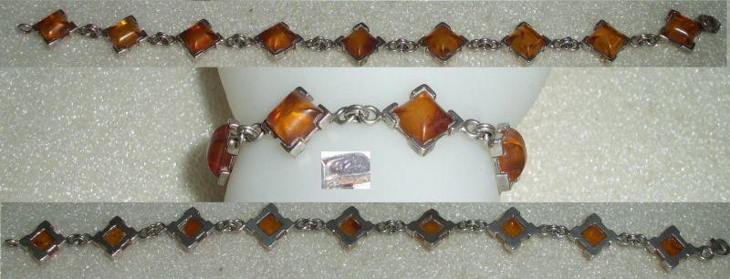 Armband aus 925er Silber mit Bernsteine/Amber  (da3620)