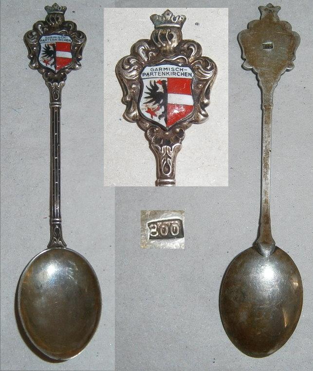 Sammler-Löffel aus 800 Silber Garmisch-Partenkirchen mit Wappen aus Emaille
