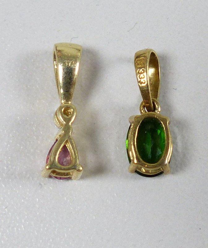 2 Anhänger aus 375 Gold mit Amethyst/Diamant und Smaragd  (da5350) 1