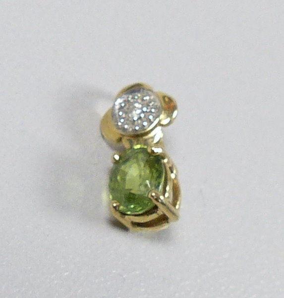 Zwei Anhänger aus 9 K = 375 Gold mit Aquamarin, Smaragd u. Diamant  (da5348) 0