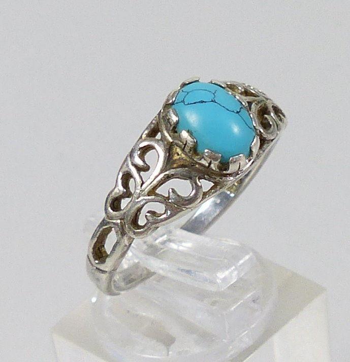 Ring aus 925 Silber mit Türkis, Gr. 63, Ø 20 mm  (da5342) 1